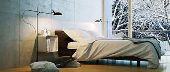 Zimowa sypialnia w stylu skandy