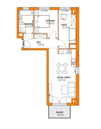 Rzut mieszkania w inwestycji Nowe Bielany 2